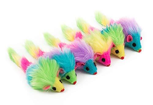 Ancol - Giocattolo per Gatti, Motivo: Topo Fury Rainbow (Confezione da 6)