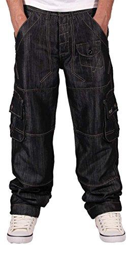 peviani-da-uomo-boys-nero-002-cargo-conflitto-combat-star-jeans-black-44w-33l