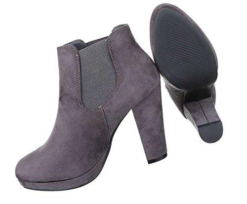 Damen Boots Stiefeletten Schuhe Stretch Mit Plateau Schwarz Braun Grau 36 37 38 39 40 41 Grau