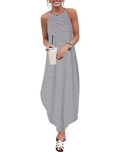 CNFIO Damen T-Shirt Kleid Oversized Boho Streifen Kleid Herbst 3/4 Langarm Kleider mit Tasche Gr. XX-Large, B-White - Schlitzen Mit T-shirt-kleid