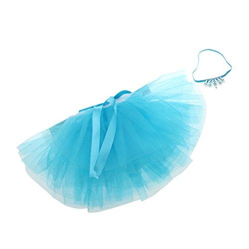 MagiDeal Infant Baby Girls Newborn Tulle Tutu Skirt Costume & Headband Set,0-3T - blue, One size