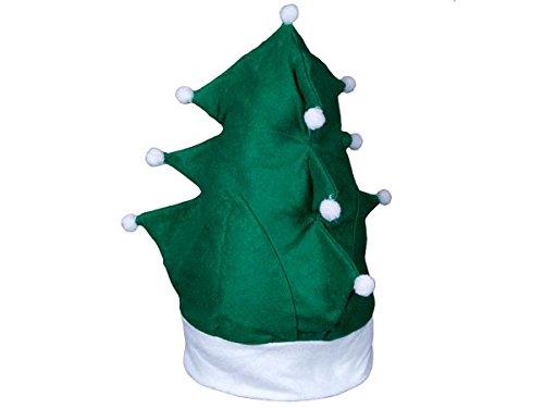 Lustige Weihnachtsmütze | Nikolausmütze als Tannenbaum | Höhe: 35 cm | Einheitsgröße für Erwachsene | Weihnachtsbaum Mütze | Farbe: grün (Noel Kostüm Pere)