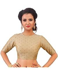 2cf9984dbff876 Studio Shringaar Women s Poly Silk Brocade Readymade Jewel Neck and Elbow  Length Sleeves Saree Blouse