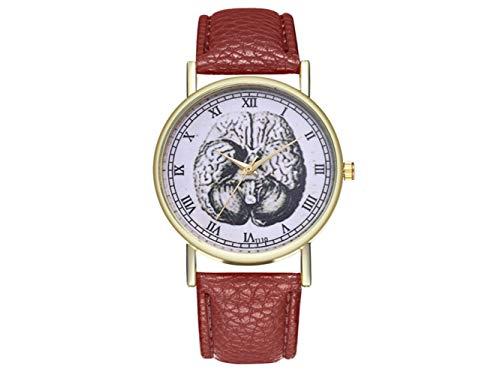 HOUHOUNNPO Modische Uhr Kreative Vintage Gehirn-Illustration-Anatomie-Leder-Uhr (Pfefferminz-Grün) (Farbe : Coffee, Größe : 23x3.9cm)
