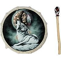 30cm Grosse Schamanentrommel Wolf mit Indianer Rahmentrommel Bodhran Drum Djembe
