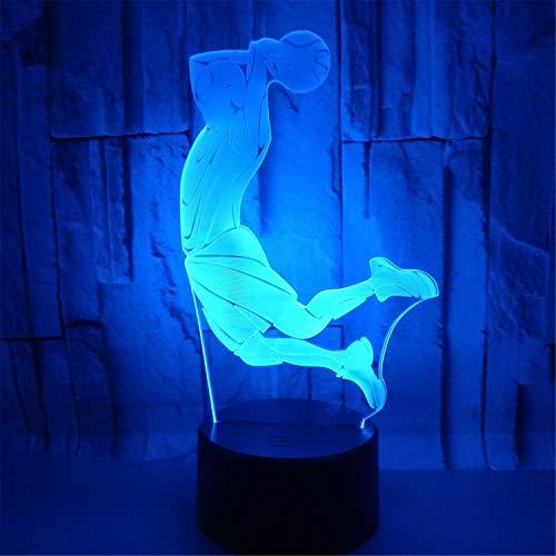 Road&Cool Beleuchtung Lichter Lampen 3D Nachtlicht USB Schlittschuh LED Dekoration Fußball USB Basketball Schreibtisch Tischlampe Stimmung Muster Geschenk (22 * 15...