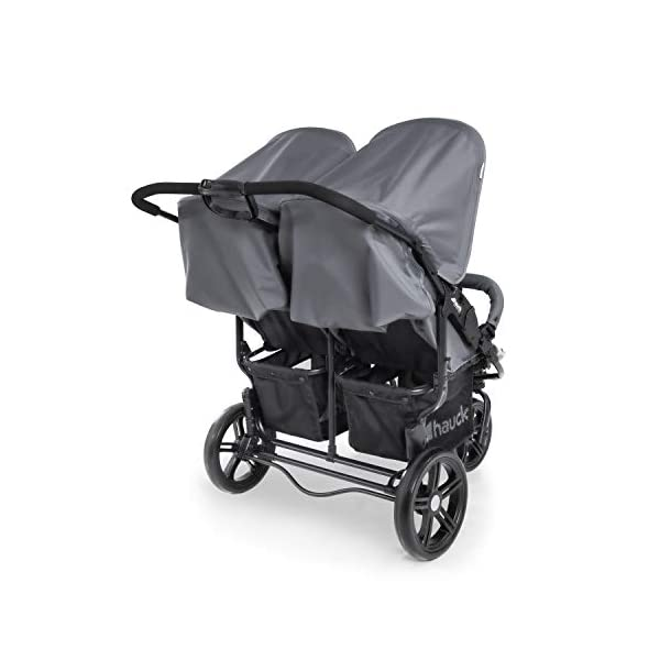 Hauck Roadster Duo SLX Double Pushchair, Grey/Silver, 14 kg Hauck Twin and sibling stroller suitable for two children or new-borns by combining it with the separately available hauck 2 in 1 carrycot, this pushchair holds 2 x 15 kg Fits through doors despite the children sitting side by side, roadster duo slx fits through doors and elevators as it measures 76 cm only Comfy both backrest and footrest come with sun hood, as well as large shopping baskets and are individually adjustable up to lying position; the pushchair is easy to fold away with one hand 18