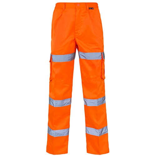 2 x Orange Hi Viz Jogging Bottoms Combat Work Wear Thick Fleece Trouser Joggers