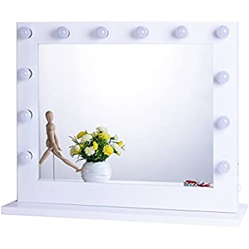 Chende White Hollywood Lighted Makeup Vanity Mirror with Light, Makeup Dressing Table Vanity Set Mirrors with Dimmer, LED Illuminated Wall Mounted Cosmetic Mirror, LED Bulbs Included (8065, White)