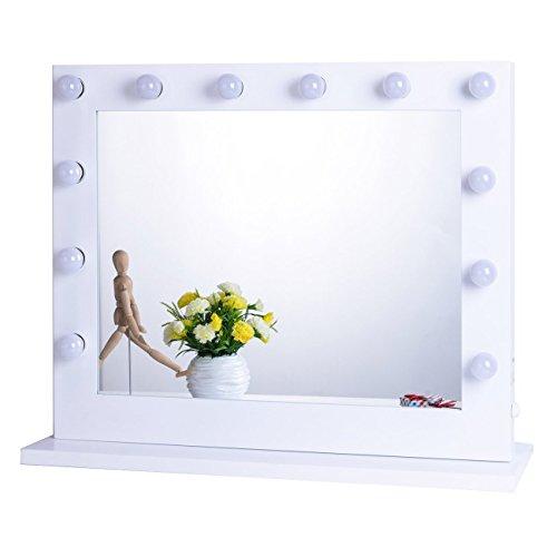 Chende Weiß Hollywood Schminkspiegel mit Beleuchtung Bühne Kosmetikspiegel, Schönheit Theaterspiegel groß, LED beleuchtet schminktisch spiegel, Mauer Montiert Spiegel, Freie Glühbirnen (8065, Weiß) Test