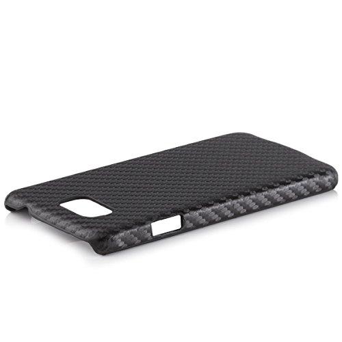 iCues Samsung Galaxy Alpha Carbon Case Schwarz | [Display Schutzfolie Inklusive] Schutzhülle Hülle Cover Schutz