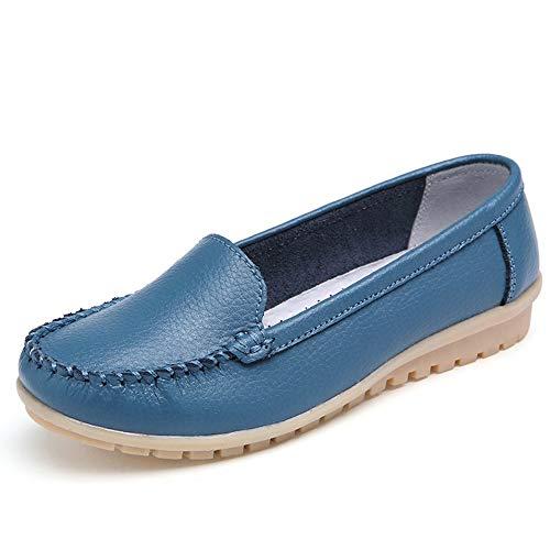 QIMITE Espadrilles,Sommer Damen Wohnungen Damen Leder Schuhe Fahren Frau Ballett Loafer Slip on Nackt Wohnungen Candy Farbe Blau Schuhe, Bild, 39