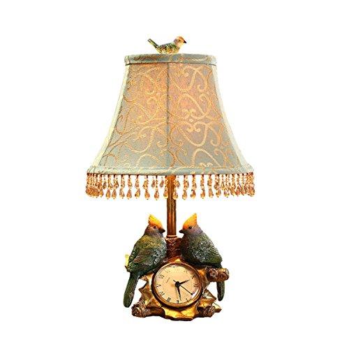 Traditionelle Art-Deco-Schreibtischlampe, Wohnzimmer Schlafzimmer Bett Kopf Lampe E27, Vögel & Uhren Design Tischlampen/pastoralen einfache kreative Tischlampen
