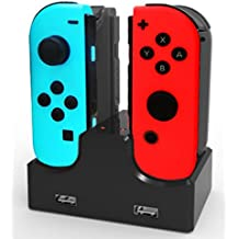 BCLA Joy-Con cargador de pie, 4 en 1 USB de carga rápida Stand para controladores Nintendo Switch