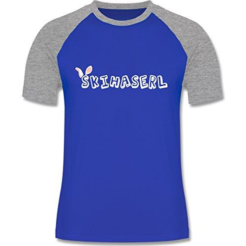 Après Ski - Skihaserl - zweifarbiges Baseballshirt für Männer Royalblau/Grau meliert