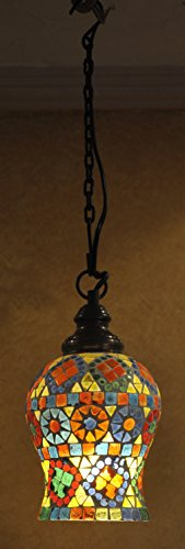 Jaipuri Handcrafted Decorative Ceiling Glass Lamp 18 Cm