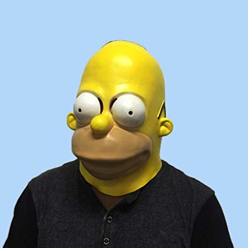 WLWWY Maske Simpson Head Maske Deluxe Neuheit Kopf Masken Der Angst Latex Spielzeug-Ball Für Halloween-Kostüm Gelb