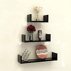 TANBURO 3 × Etagère Murale U Forme, Etagère Suspendue Tablette Murale Etagère Bibliotheque Design Rétro pour Livre CD DVD - Noir