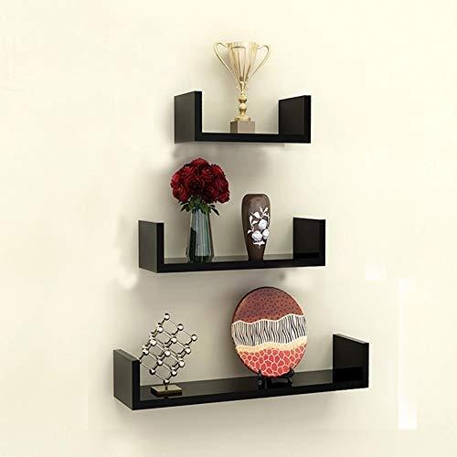 TANBURO Juego de 3 Estantes Tablero de pared en U-Forma para Libros CDs Estanterías de pared Cubos retro, MDF Holz -Negro