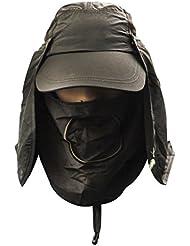 Unisex Sombrero de sol - Gorra con visera/béisbol - Para deporte, de secado rápido y protege del sol - Sombrero para el aire libre con máscara extraíble anti-UV/mosquitos, transpirable, para pesca, ciclismo, caza UPF50+, color Armée Verte, tamaño talla única