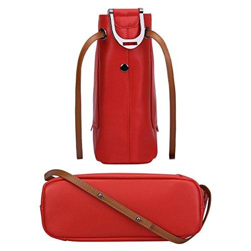 S-ZONE Frauen Arbeiten Echtes Leder Tote Schulter Handtasche Crossbody Geldbörse Kurier Handtaschen Damen Satchel Rote