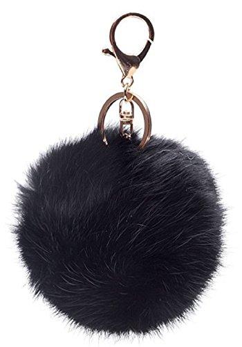 Feililong hübsch Fox Plüsch Ball Kaninchen-Pelz-Kugel Schlüsselanhänger Auto Schlüssel Tasche Telefon Anhänger (KaninchenPelzKugel+Schwarz) (Taschen Pelz)