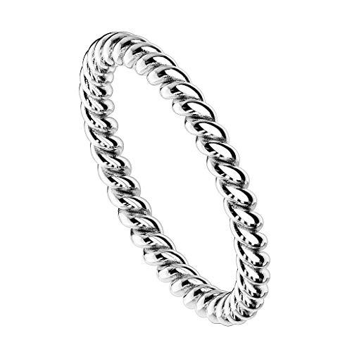 Piersando Damen Ring Edelstahl Schmaler Geflochtener Bandring Damenring Trauring Fingerring Silber Größe 54 (17.2)