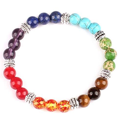 MeiPing Regenbogen Chakra Armband Behandlung Stein Gebet Balance Perlen Armband für Damen und Herren