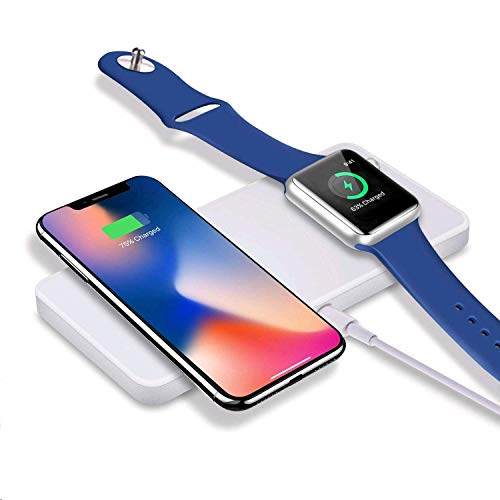 Sararoom Caricabatterie wireless per iPhone 8/8Plus / X e Apple Watch (oltre serie 4), caricabatterie ad induzione rapida per Samsung Galaxy Note e altri dispositivi compatibili Qi