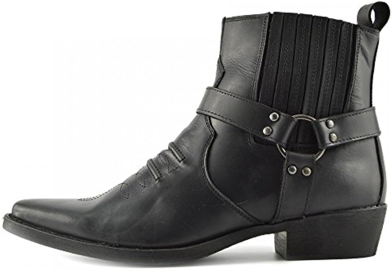 Kick Footwear   Herren Cowboy Leder Ankle Biker Western Stiefel   UK 6/EU 40  Black   2Kick Footwear Herren Western Stiefel