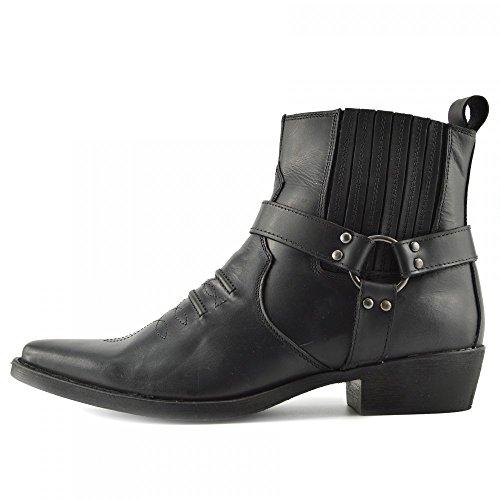 Kick Footwear - Herren Cowboy Leder Ankle Biker Western Stiefel - UK 10/EU 44, Black - 2 - Western-stiefel Männer