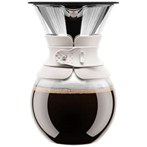 Bodum Pour Over Coffee Maker with Filter, Borosilicate Glass - 1.5 L, Off-White