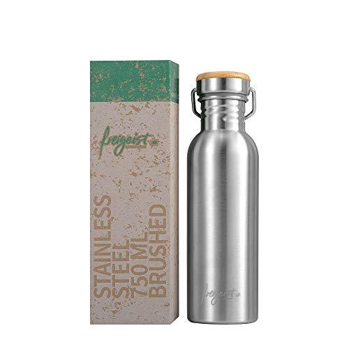 freigeist Trinkflasche Edelstahl 750 ml einwandig | Sportflasche BPA-frei dicht | Auslaufsichere Outdoorflasche mit Bambusdeckel (matt) -