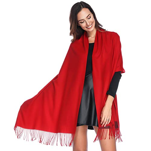 865e4def19ce HOYAYO Cashmere Pashmina Shawls and Wraps Scarf for Women(Red)(Size  L