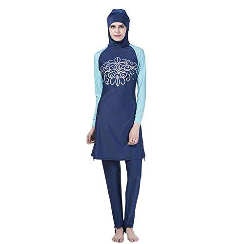 Meijunter Muslim islamisch Frauen 2-Stück Bescheiden Voller Deckel Befestigt Kappe Burkini Badeanzug Middle East Araber Hijab Bademode Malaysia Bathing Suit (Farbe:Blau,Größe:L) (Kappen Deckel)