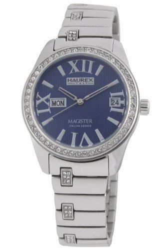 Haurex Italy Ladies Watch XS356DB1 Magister L with Blue Dial and Silver Stainless Steel Strap