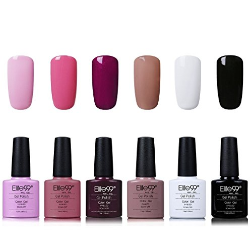 Elite99 Smalto Semipermente per Unghie in Gel UV LED 6 Colori Kit per Manicure Smalti Gel per Unghie Soak Off Base Coat Top Coat - Kit001