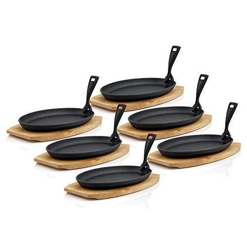 BBQ-Toro Servierpfännchen Set mit Holzunterlage   27 x 18 x 3 cm - oval - Design blank   Gusseisen Grillpfannen Pfännchen (6)