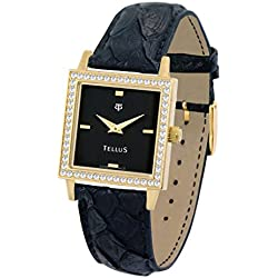 Tellus - Vintage - Luxury Women's watch with black dial, black strap in Genuine python, Swiss Made - T5067DI-104
