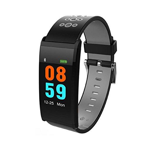 Teepao Fitness Activity Tracker Uhr mit Herzfrequenz Monitor, Blutdruck, Zählen, Kalorien Schrittzähler, IP68Wasserdicht Farbe LCD-Bildschirm Armband für Android und IOS Smartphones grau