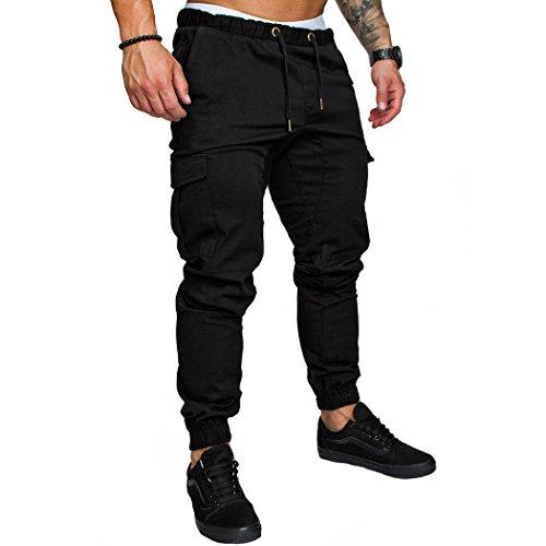 MIOIM Herren Stretch Freizeithose Jogger Basic Kordelzug Chino Jeans Hose Cargo Trainingshose Fitnesshose Laufhose Pants Schwarz M