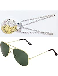 Sheomy Combo Of Friendship Coin Best Friends Pendant And Golden Green Aviator Sunglasses Best Online Gifts