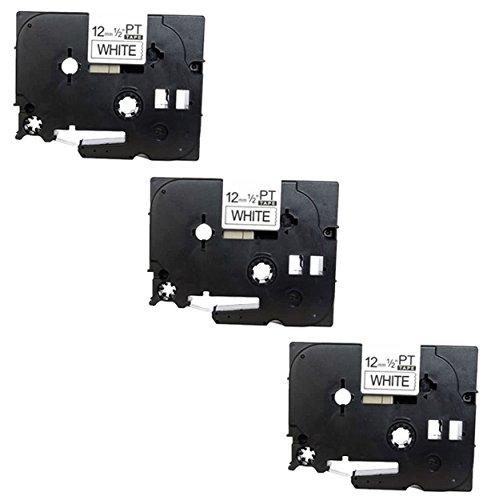 3x Nastro per Etichette compatibile per TZe231 TZ231 Nero su Bianco 12mm x 8m per Brother P-Touch PT-1000 1005 1010 3600 9600 D210 D600VP E300VP E550WVP H101C H101GB H105 H110 H300 H500 P700 P750W
