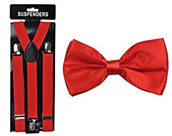 Tiekart cool combos red plain solids bow tie+suspenders