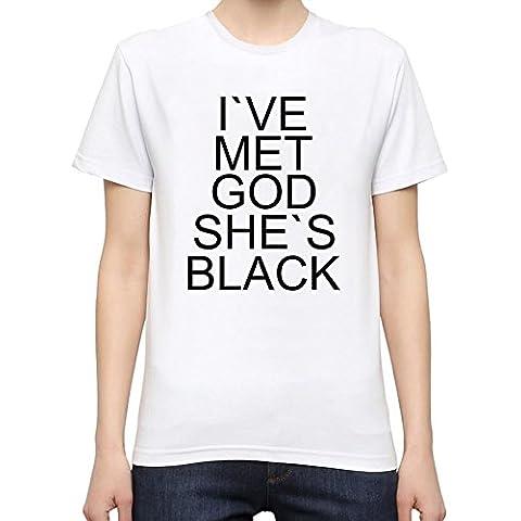 I've Met God She's Black Slogan Camiseta Mujeres