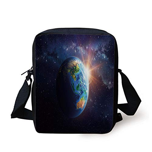 KLYDH World,Face of Earth in Space View of Asian and Australian Continents and Galaxy,Dark Blue Green Yellow Print Kids Crossbody Messenger Bag Purse (Galaxy Print Messenger Bag)