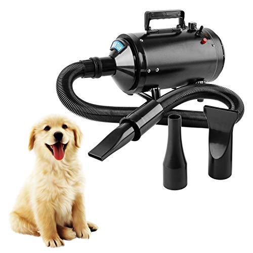 Topwill Soffiatore per Cani con 3 Ugelli, Pet Dog Dryer 2800W Toelettatura Soffiatore Cani Asciugacapelli Cane Regolabile Velocità Vento e Temperatura per Pet (Nero)