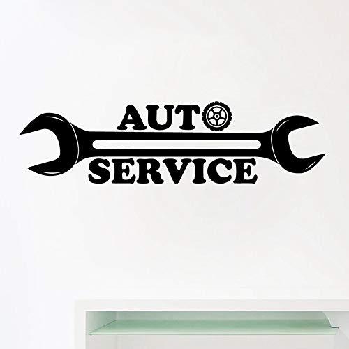 Auto Service Logo Vinyl Wall Sticker Decals Repair Car Station Sign Art Decals Mural Art Decor Garage Wall Window Decoration Gray 56x15 cm -
