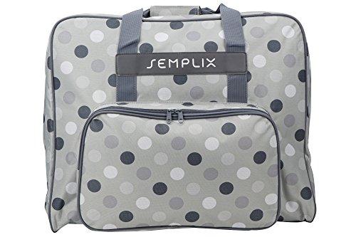 SEMPLIX XL-Nähmaschinentasche, Polka Dots Stein/grau, 52x42x27 cm, Große stabile Transport und Aufbewahrungs Tasche für große Nähmaschinenmodelle