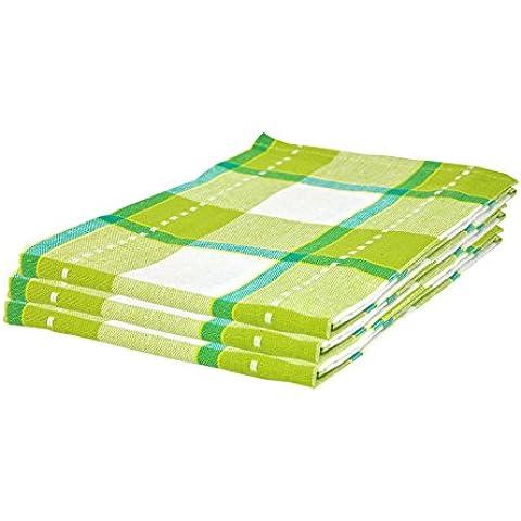 Juego de 3Paños de cocina de algodón Pasado (45x 65cm) en verde cuadriculado con aufhän glasche